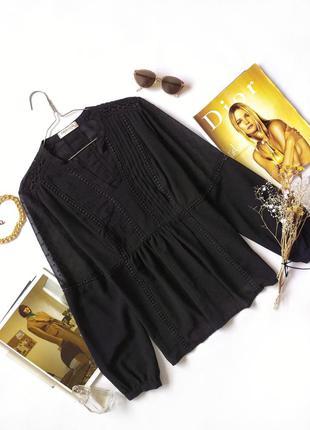 Черная блуза в винтажном стиле в горошек marks&spenser