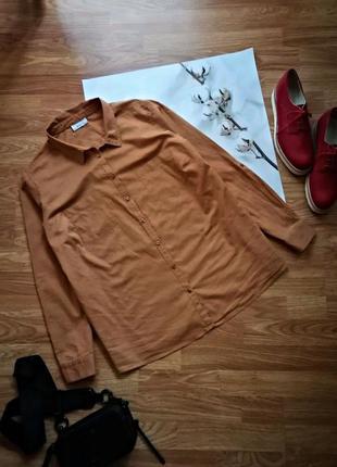 Женская натуральная хлопковая брендовая горчичная рубашка yessica - размер 54-56