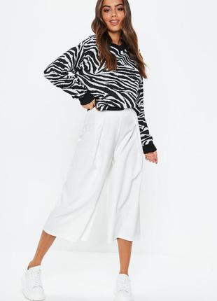 Белые кюлоты короткие кроп штаны бриджи длинные шорты бермуды широкие высокая талия посадка