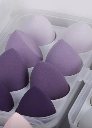 Набор спонжей для макияжа 8 шт (синего цвета) / косметический спонж для нанесения макияжа