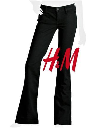 Стрейчевые черные  брюки клёш h&m eur 38