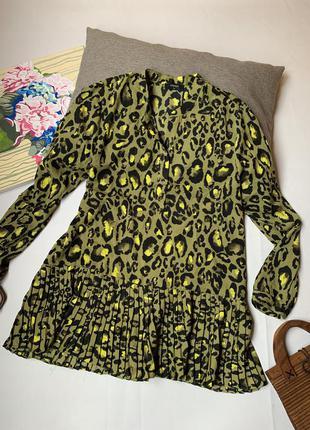 Блуза зелёная леопардовая papaya вольный крой удлиненная длинный рукав осенняя пляжная