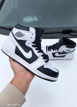 Nike air jordan высокие унисекс кроссовки белые с черным