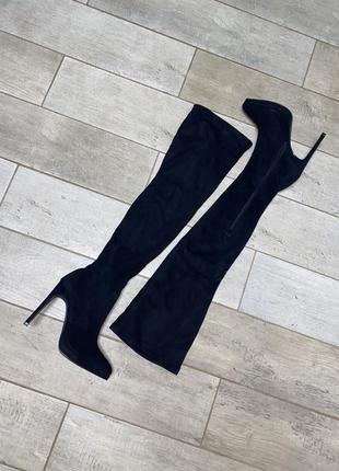 Замшевые ботфорты,высокий каблук,шпилька,острый носок