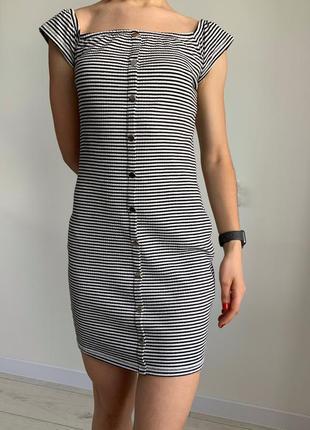 Платье в полоску, сукня чорно-біла, летнее платье, платье на не высокую девушку, облегающее платье.