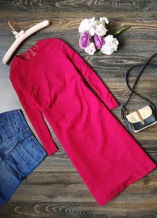 Элегантное приталенное малиновое платье 115200 размер м миди