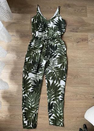 Ромпер комбинезон брюки зеленый принт майкой