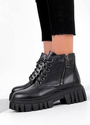 Ботинки из натуральной чёрной кожи....зимние и демисезонные