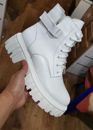 Ботинки из натуральной белой кожи ❄❄❄