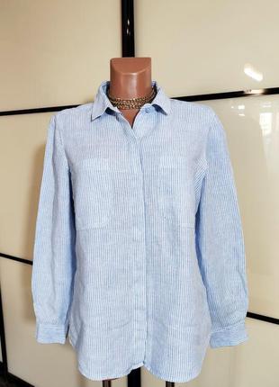 Marks & spencer стильная льняная  рубашка в полоску