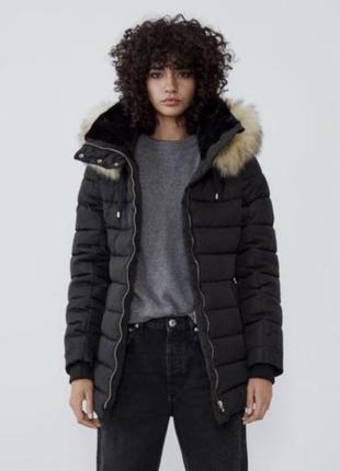 Шикарная куртка / пуховик (натуральный пух+перо) zara