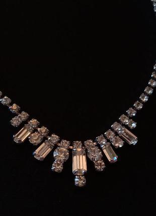 Колье винтажное багетные кристаллы чехословакия