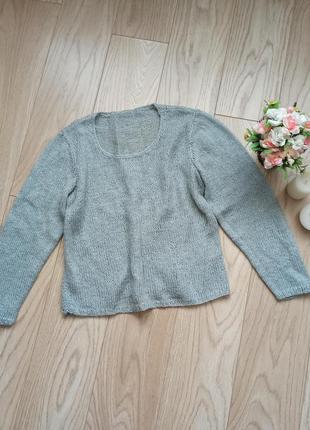 Тонкий серый свитерок с люрексом, паутинка, р.s