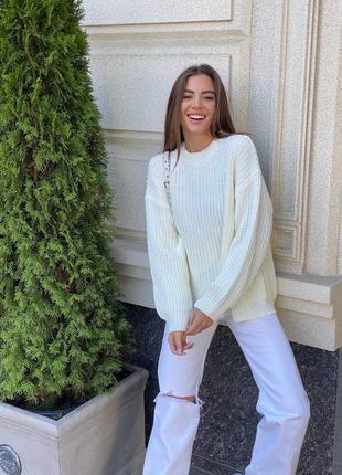 Женский свитер вязка молочный белый воланы фонарик тёплый зимний