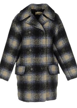 Двубортное шерстяное пальто шерсть зимнее пальто оверсайз