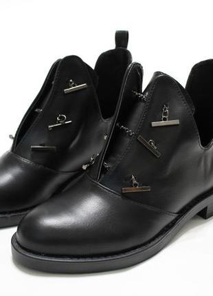 Женские черные демисезонные ботинки (туфли, ботильоны) из эко-кожи