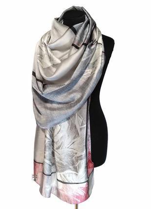 Шелковый нежный шарф палантин серо-розовый натуральный 100% шелк новый качетвенный