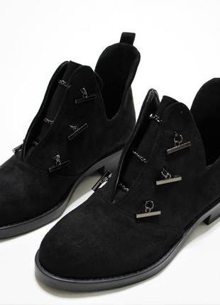 Женские черные демисезонные ботинки (туфли, ботильоны) из эко-замши
