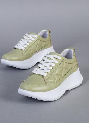 Кроссовки женские кожаные светло-зеленые
