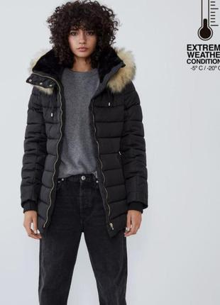 Куртка чёрная на зиму пуховик пальто парка курточка zara s m