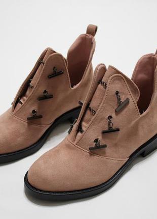 Женские демисезонные ботинки (туфли, ботильоны) из эко-замши в пудровом цвете