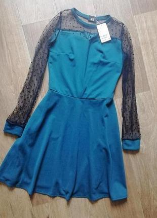 Красивое наряжное платье с рукавами сеткой, платье изумрудного цвета, сукня, плаття, платья, вечернее наряжное платье