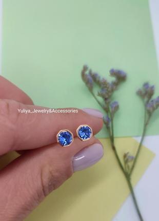 Позолочені сережки з кристалами swarovski