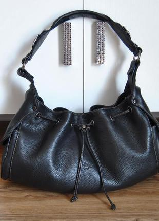 Кожаная сумка хобо yves renard / шкіряна сумка