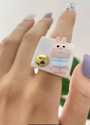 Кольцо кролик 🐇🖤