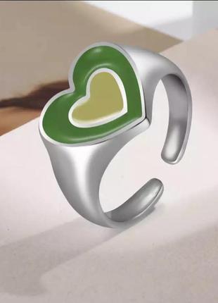Кольцо сердце 💚