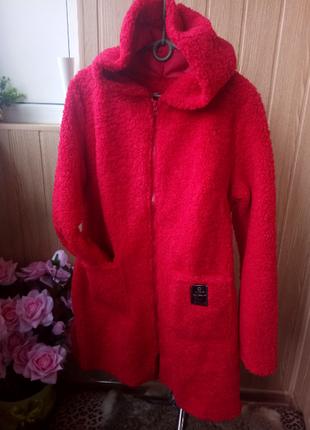 Плотные теплые пальто-кардиганы букле без подкладки