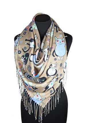 Демисезонный платок шаль хлопок с кистями с котами кошками бежевый новый качественный
