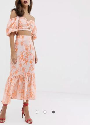 Костюм комплект юбка миди топ с объёмными рукавами льняной  asos