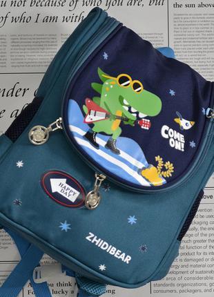 Детский рюкзак динозавр с брелком цвет: синий