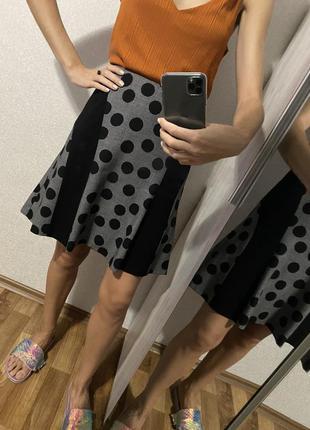 Шерстяная юбка в горошек 90% шерсть 10% шёлк