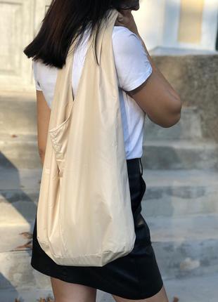 Сумка шопер, женская сумка, плащевая сумка шопер, бежевая сумка, большая сумка