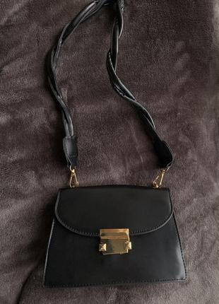 Сумка чорна, сумка маленькая, стильная сумка, сумка через плечо, трендовая сумка 2021.