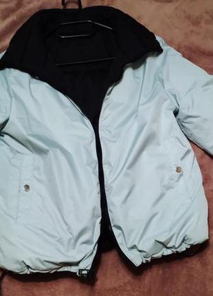Двухсторонняя куртка оверсайз мятный/черный