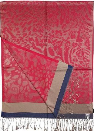 Палантин шарф кашемировый шелк хамелион леопардовый красный новый качественный