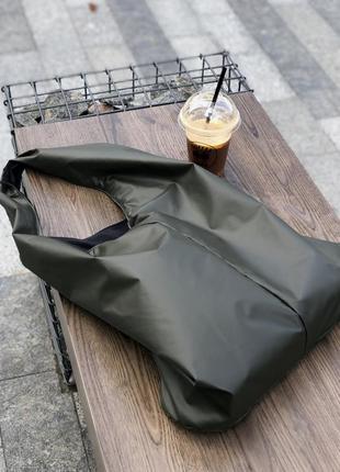 Сумка шопер, женская сумка большая, сумка хаки, сумка кожаная, сумка плащевая