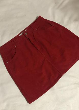 Красная вельветовая юбка(42р)xl