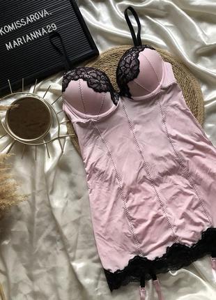 Розовый пеньюар с подтяжками для чулков  размер: 38(75в, есть пуш ап