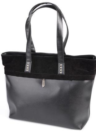 Черная замшевая сумочка шоппер корзина деловая женская сумка на плечо