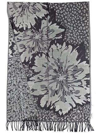 Палантин шарф pashmina original стальной серый кашемировый с кистями новый качественный