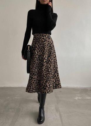 Вязаная юбка миди с леопардовым принтом🌷
