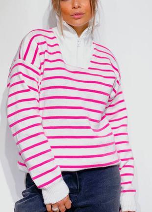 Трендовый  полосатый  свитер кофта