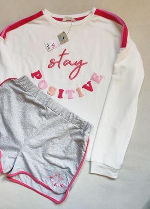 Стильный комплект свитшот и шорты для девушки р.152