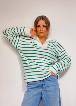 Трендовый  полосатый свитер женский шерстяной