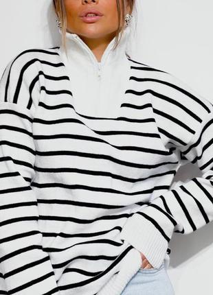 Женский трендовый свитерок полосатый шертяной