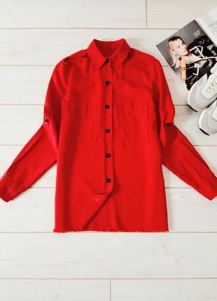 Мега стильная рубашка  в красном цвете с необработанным  низом